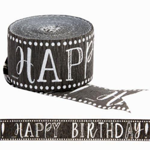 Serpentin Joyeux anniversaire, pois sur tableau noir Image de l'article