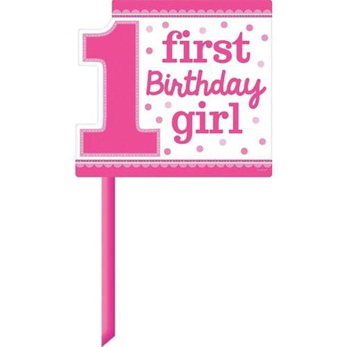 Affiche de pelouse 1er anniversaire, fille rose