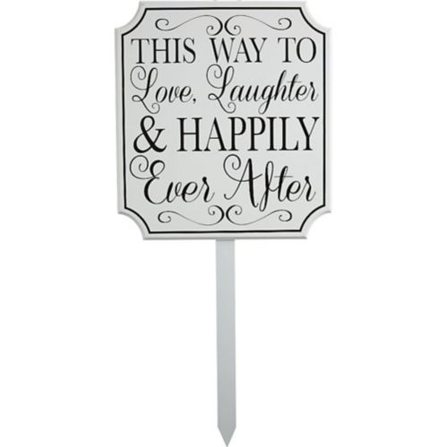 Happily Ever After Wedding Yard Stake, White