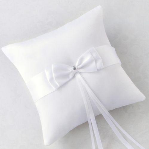 Coussin porte-alliances à noeud blanc