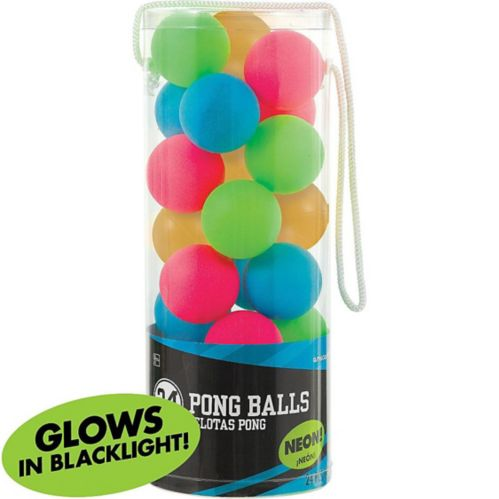 Black Light Neon Pong Balls, 24-pk