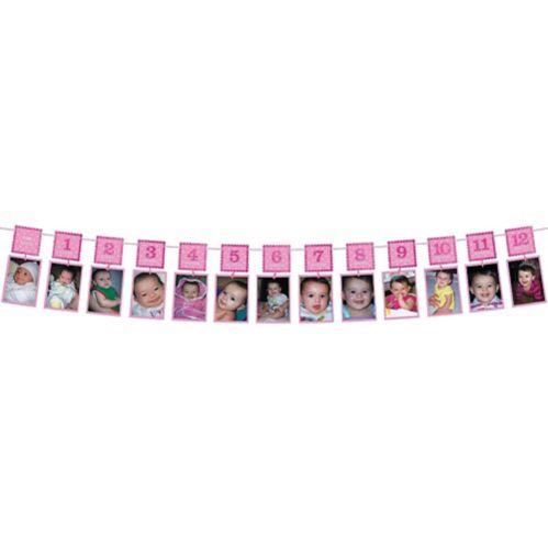 Guirlande de photos scintillante rose de 1er anniversaire