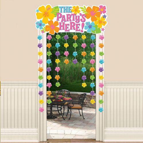Rideau décoratif hibiscus pour porte