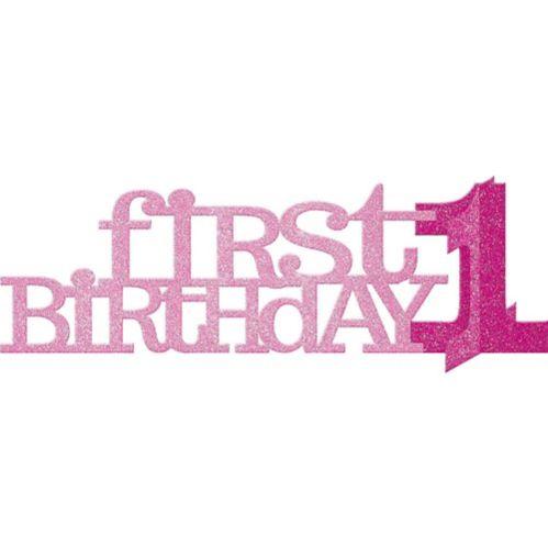 3D Pink Glitter 1st Birthday Centerpiece