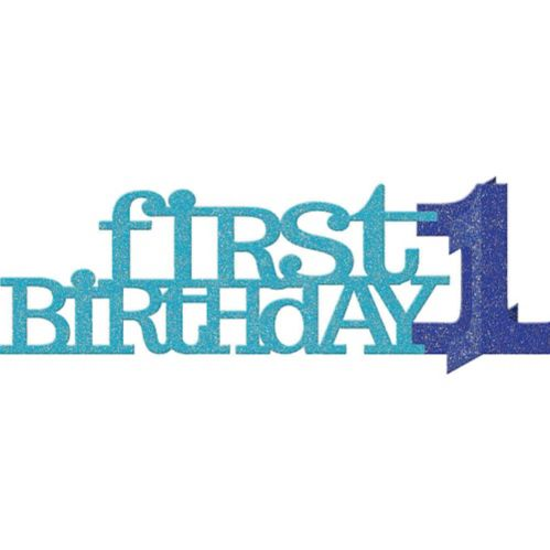 3D Blue Glitter 1st Birthday Centerpiece