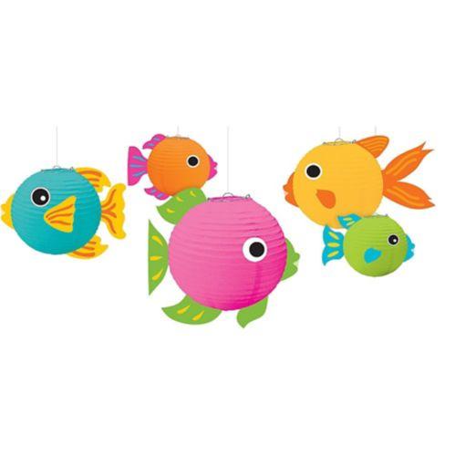 Lanternes en papier 3D, poisson tropical, paq. 5