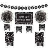 Décorations de salle d'anniversaire à personnaliser, noir et blanc