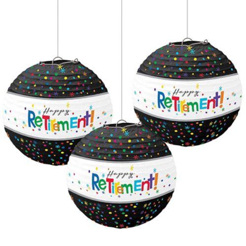 Happy Retirement Celebration Paper Lanterns, 3-ct