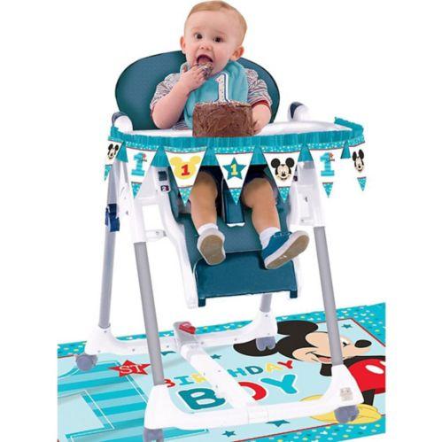 Décorations pour chaise haute Mickey Mouse 1er anniversaire, paq. 2
