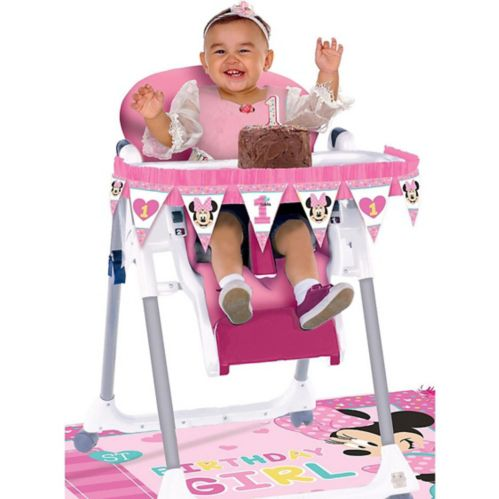 1st Birthday Minnie Mouse High Chair Decorating Kit, 2-pc