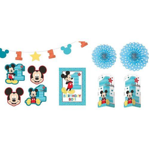 Décorations de salle pour 1er anniversaire Mickey Mouse, paq. 10