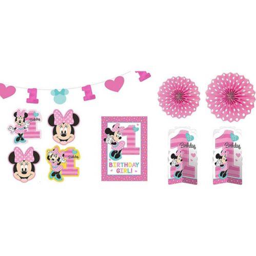 Décorations de salle 1er anniversaire Minnie Mouse, paq. 10