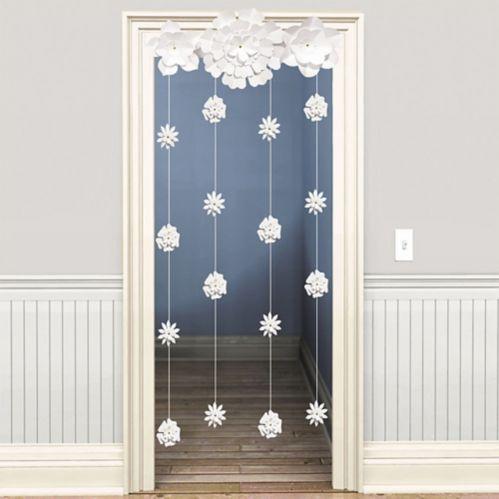 White Flower Doorway Curtain