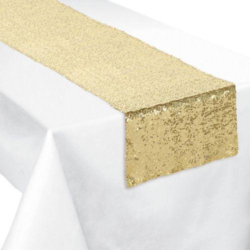 Chemin de table avec paillettes dorées Image de l'article