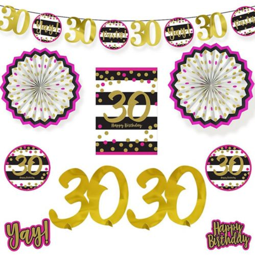 Pink & Gold 30th Birthday Room Decorating Kit, 10-pc Product image