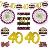 Pink & Gold 40th Birthday Room Decorating Kit, 10-pc