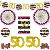 Pink & Gold 50th Birthday Room Decorating Kit, 10-pc