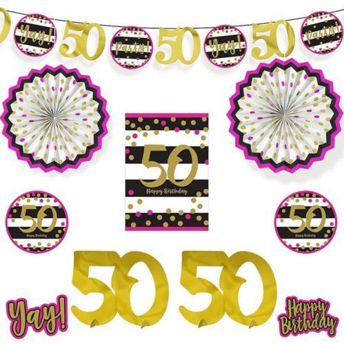 Décorations de salle scintillantes pour 50e anniversaire, rose et doré, paq. 10