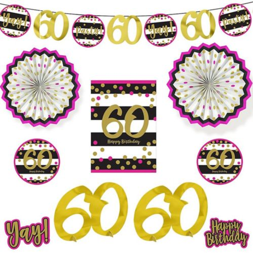 Pink & Gold 60th Birthday Room Decorating Kit, 10-pc