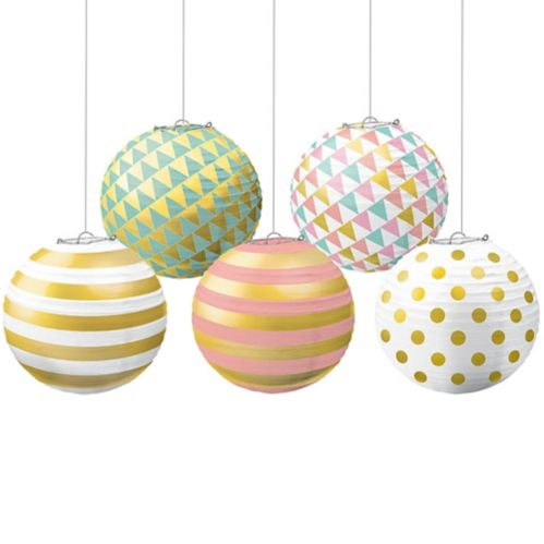 Mini lanternes en papier à pois, paq. 5 Image de l'article