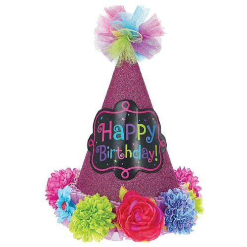 Chapeau de fête Happy Birthday, fleurs vives