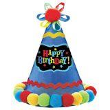 Chapeau de fête Happy Birthday avec pompon bleu
