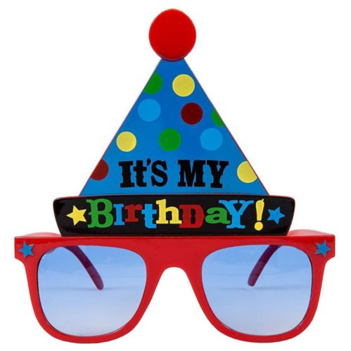 Bright Birthday Party Hat Sunglasses