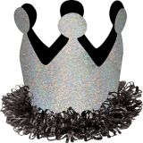 Mini Birthday Crown Hair Clip, Silver/Black