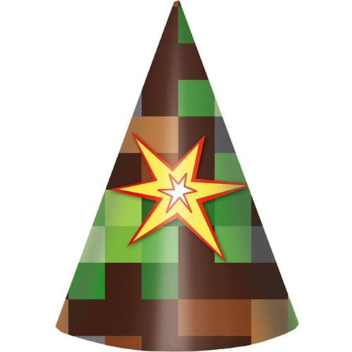 Pixelated Party Hats, 8-pk