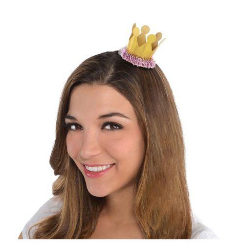 Mini-pince à cheveux couronne, rose/doré