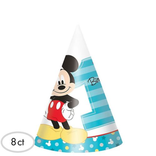 1st Birthday Mickey Mouse Party Hats, 8-pk Product image