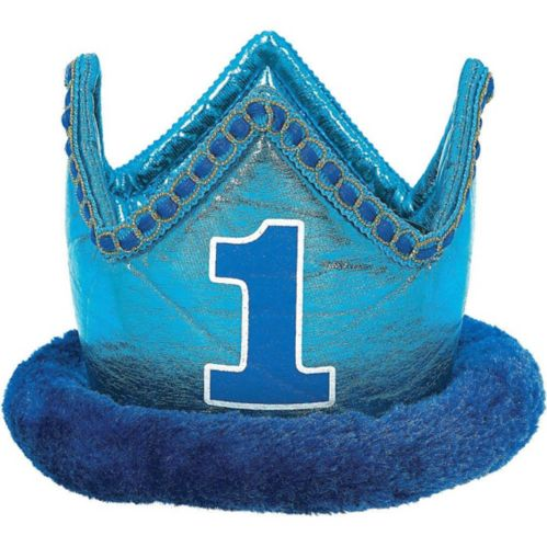 Petite couronne en peluche bleue 1er anniversaire Image de l'article