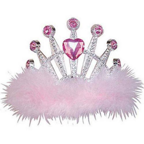 Pink Marabou Heart Gem Tiara