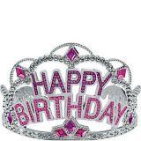 Pink Rhinestone Happy Birthday Tiara