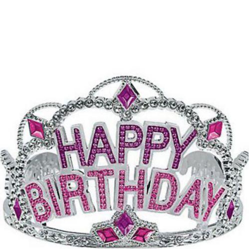 Pink Rhinestone Happy Birthday Tiara Product image