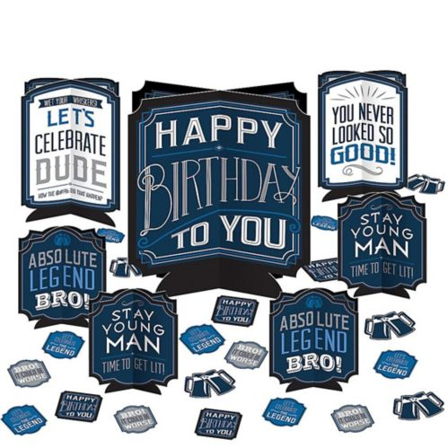 Décorations de table rétro Happy Birthday, paq. 27 Image de l'article