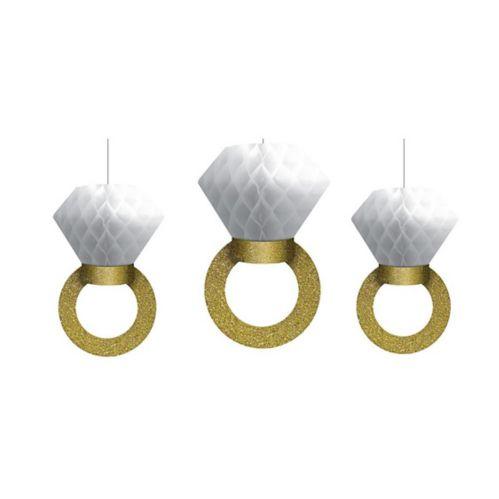 Glitter Gold Diamond Ring Honeycomb Balls, 3-pk