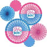 Girl or Boy Gender Reveal Paper Fan Decorations, 6-pk