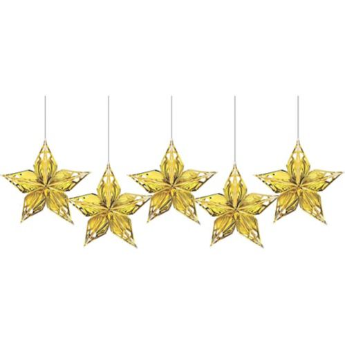 Metallic Gold Star Decorations, 5-pk