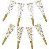 Pastel & Gold Party Horns, 8-pk
