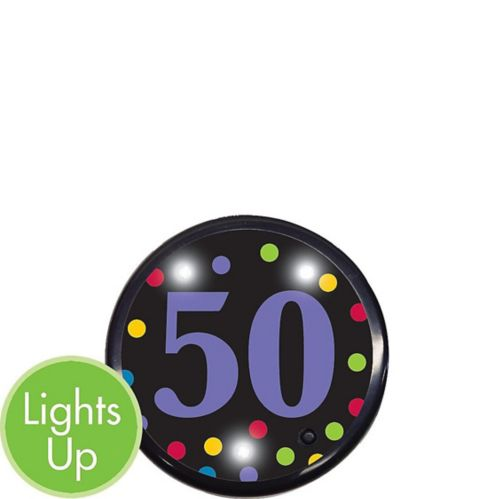 Light-Up 50th Birthday Button