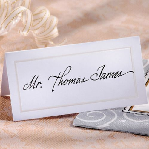 White Pearlized Border Place Cards, 50-pk