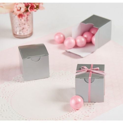 Silver Wedding Favour Boxes, 100-pk Product image