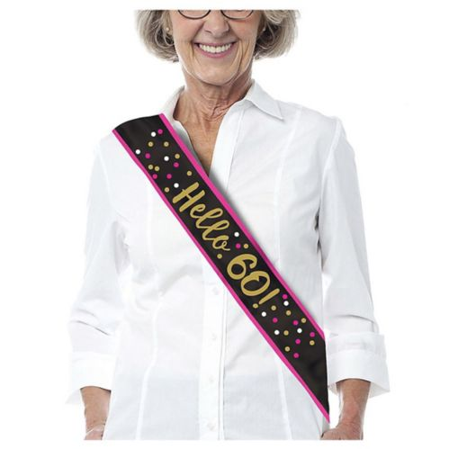 60th Birthday Sash, Pink/Gold