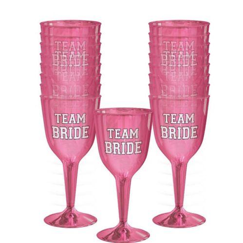 Team Bride Plastic Wine Glasses, 16-pk