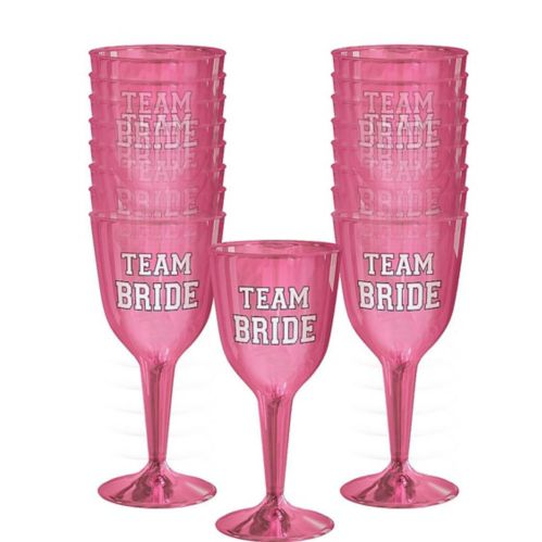 Verres à vin en plastique Team Bride, paq. 16