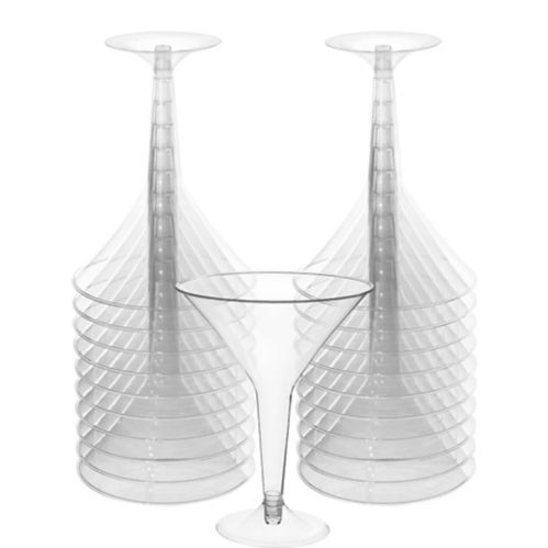 Big Party Pack CLEAR Plastic Martini Glasses, 20-pk