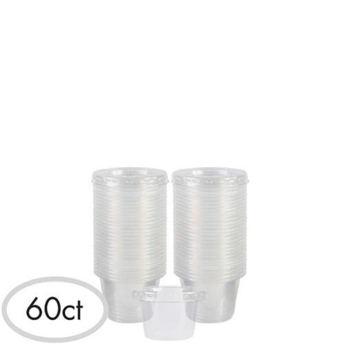 Verres à liqueur en plastique transparent avec couvercles, paq. 60
