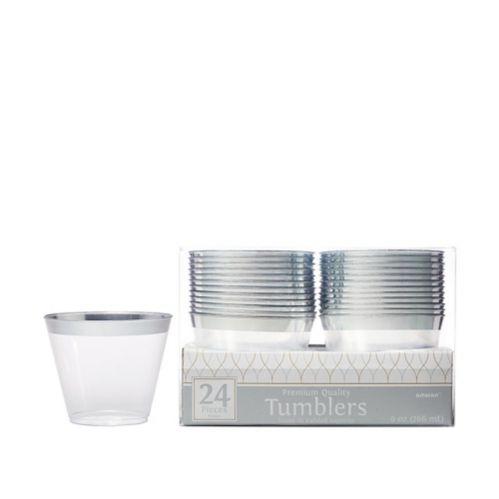 Verres en plastique transparent à bordure de première qualité, paq. 24