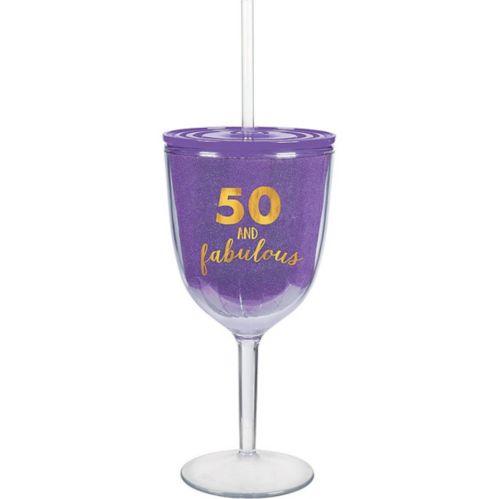Verre à vin avec paille 50 & Fabulous